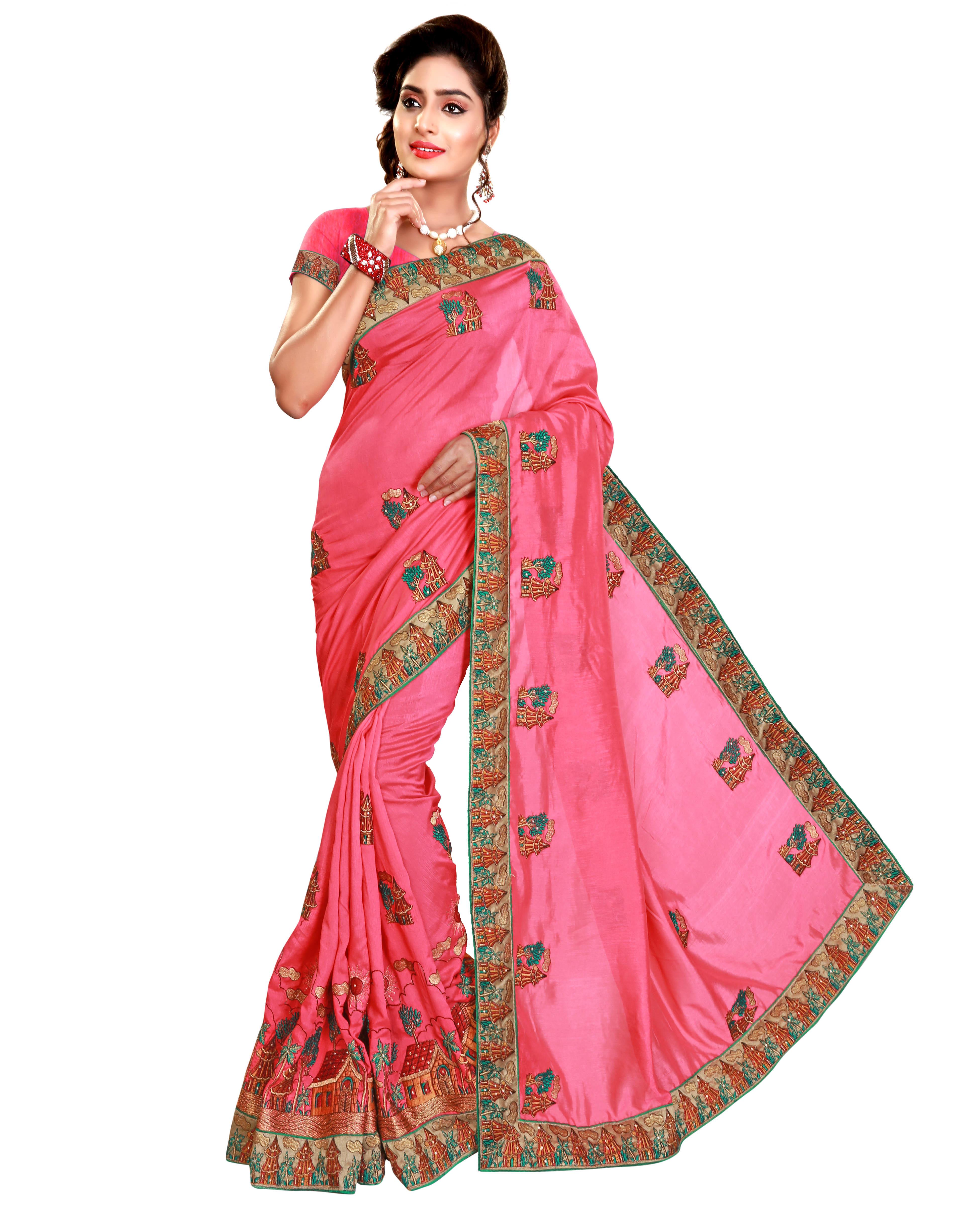 pretty embroidery work satin saree