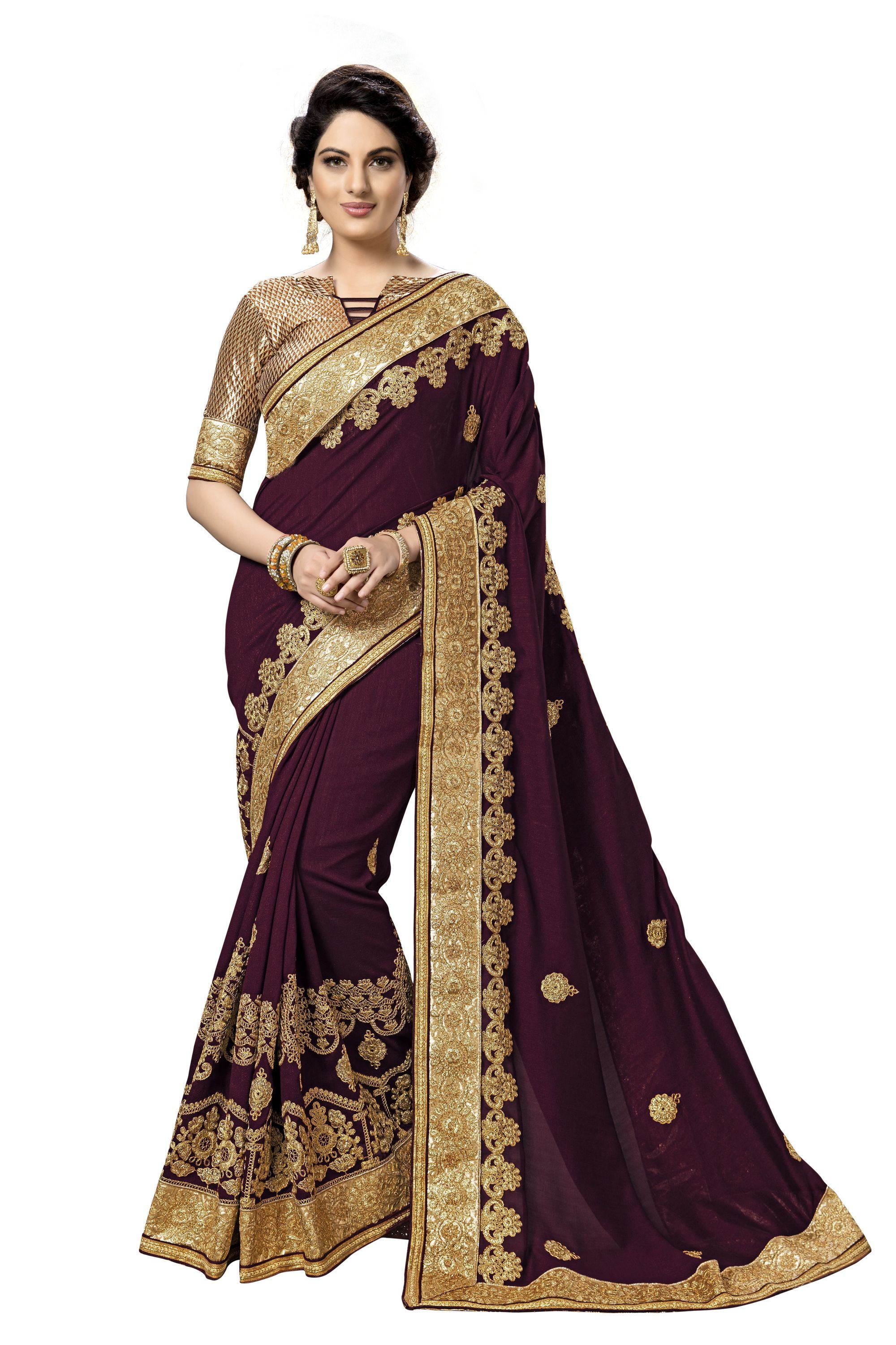 Geometric design embroidered satin saree collection