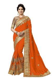 Geometric design embroidered satin saree collection