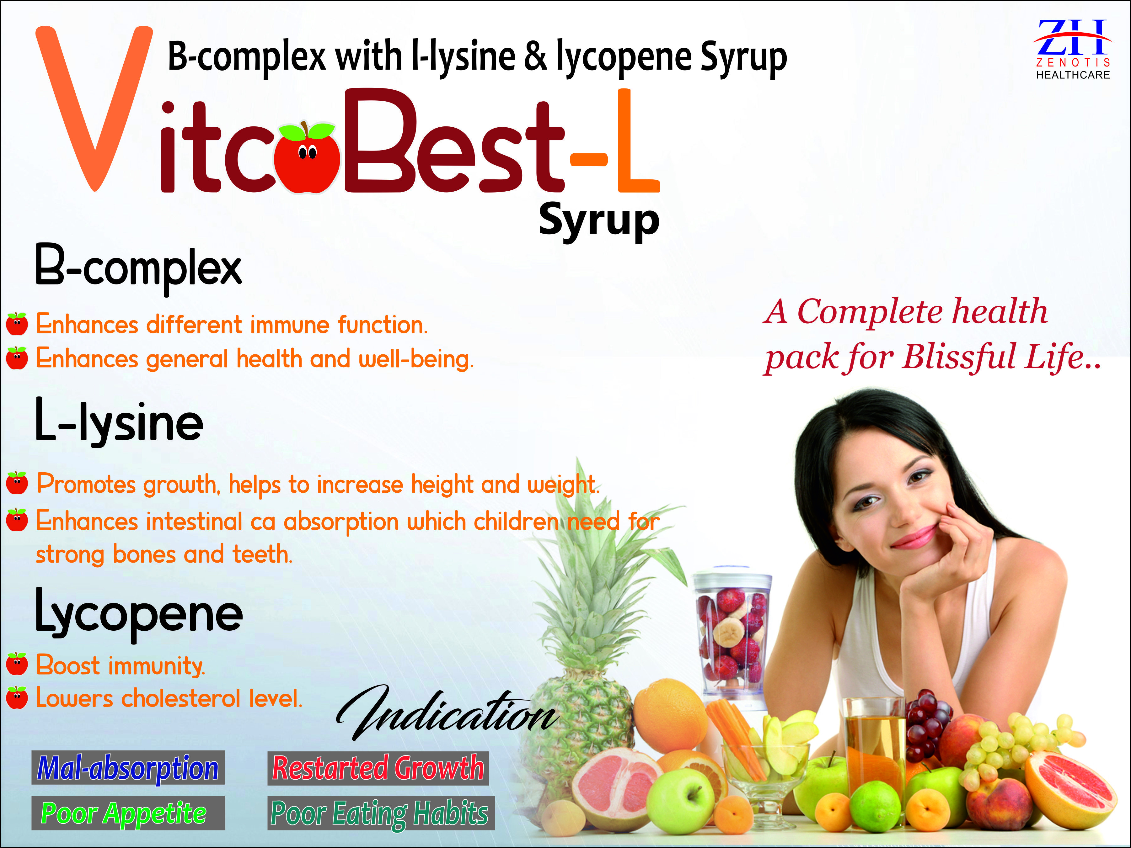 B-complex With L-Lysine and Lycopene Syrup