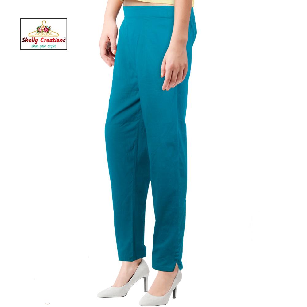 Ladies Stretch Cotton Pant (Half Elastic)