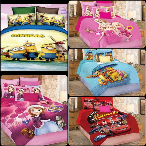 Kids Glace Cotton Cartoon Print Bed Sheet