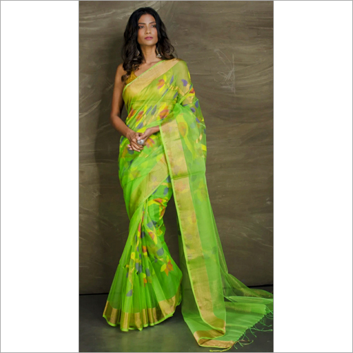 Rasum Moslin Jamdalni Saree  With Bp C Green