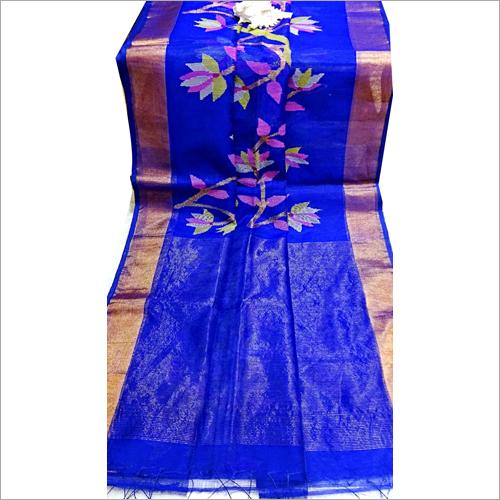 Matka Jamdalni Saree Golden Jari Bodar Royel Blue
