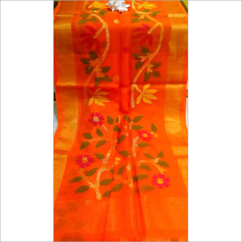Rasum Moslin Jamdalni Saree Orange Color