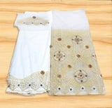 Nigerian traditional Heavy Beaded George wrapper Stone Silk Indian George Fabric