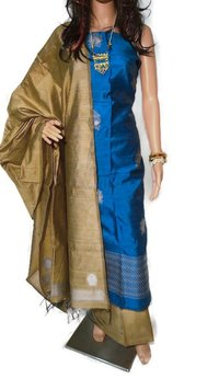 PURE DUPION RAW SILK FULL SUIT SET 2.5 MTRS EACH.