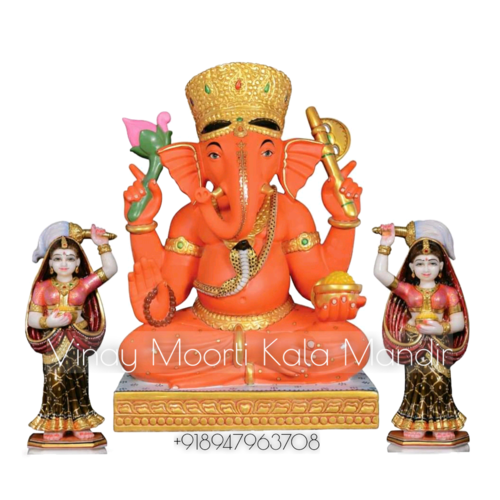 Ridhi Sidhi Ganesh Marble Statue