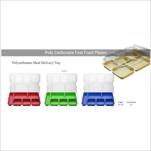 Fast Food Tray with 6 Compartment & Lid - PC & ABS, Bento Box, Cafeteria Tray 10.5 x 14