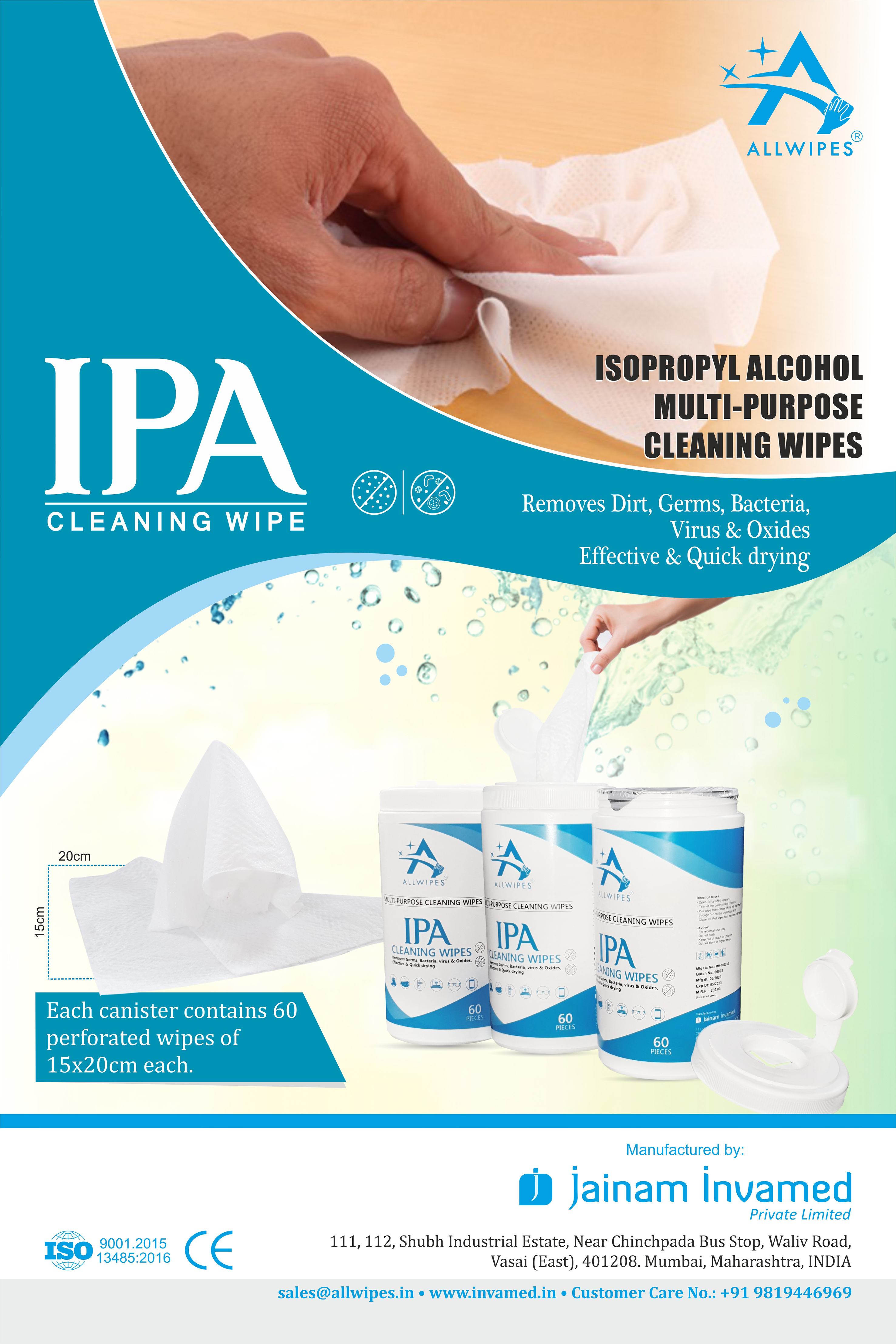 ALLWIPES IPA Multipurpose Wipes Canister Wet Wipes - 60Pcs in one Canister - 15x20cm wipes