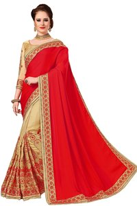 Half and Half Silk Embroidered Saree collection