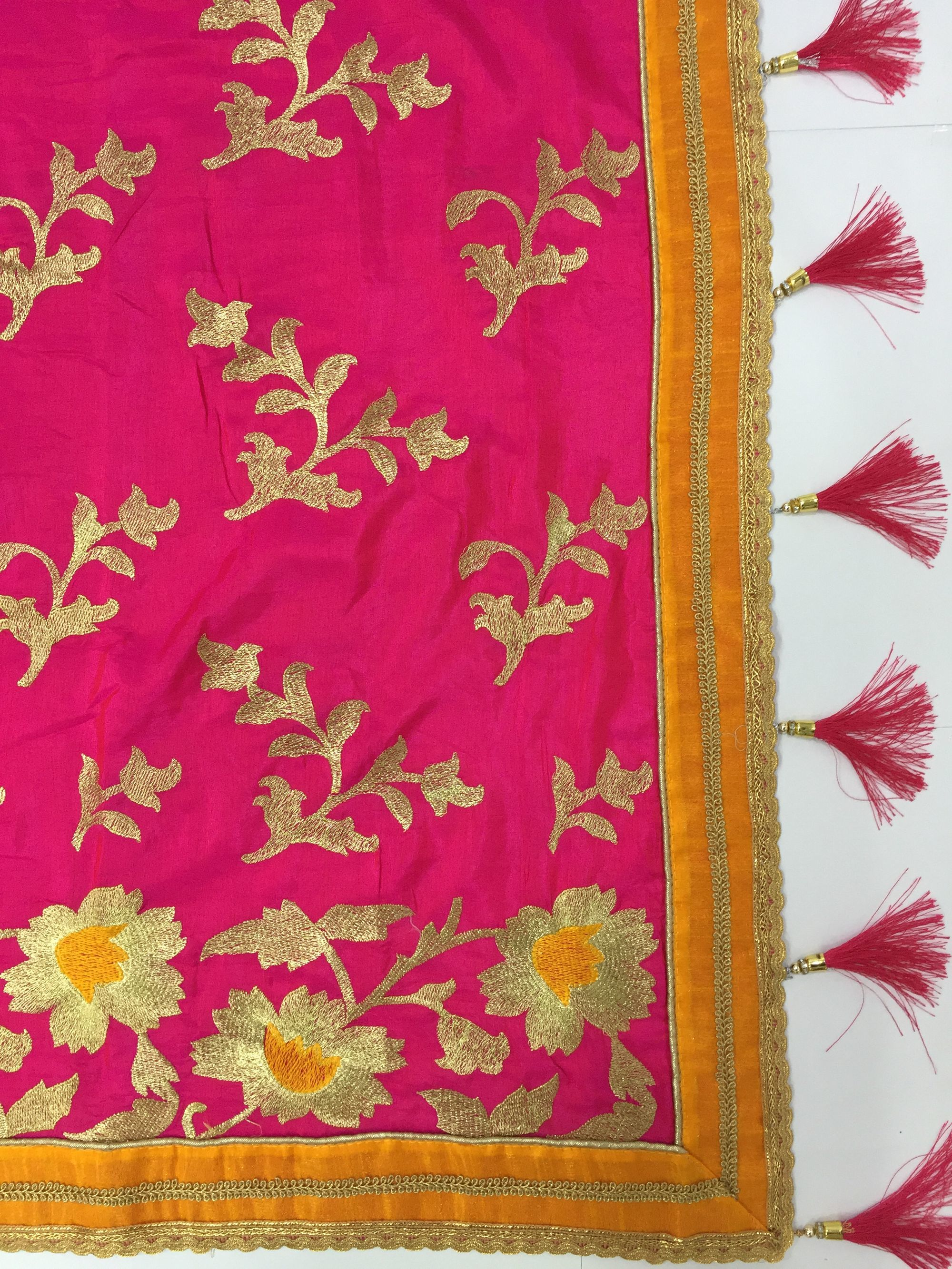 Silk Embroidered with tassels Saree collection