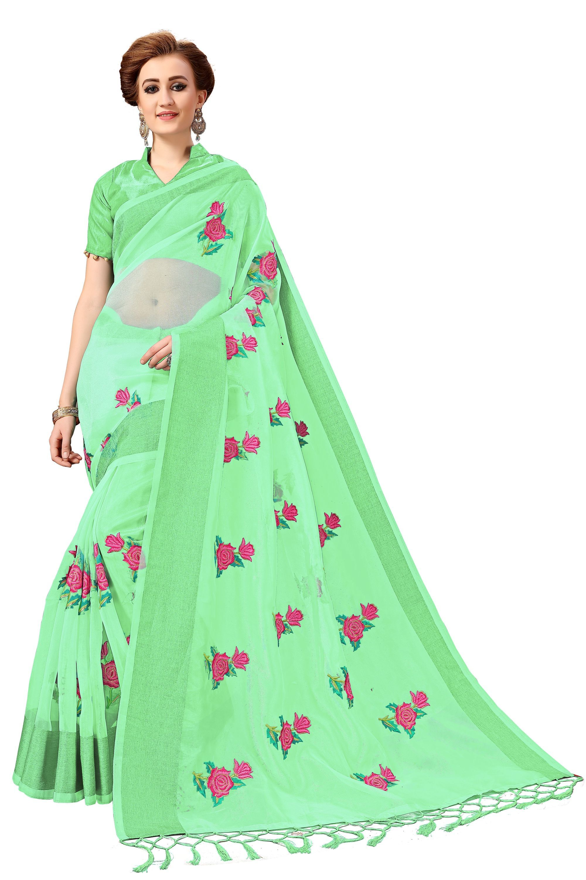 Rose design Embroidered Saree