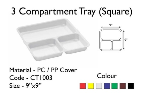 Fast Food Tray with 3 Compartment [Pav Bhaji Plate] ABS & Polycarbonate 8.5 x 8.5