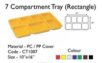 Fast Food Tray Cafeteria 7 Compartment with transparent Lid 16 x 10