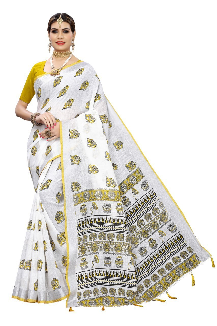 Animal Printed Linen Saree with Jhalar