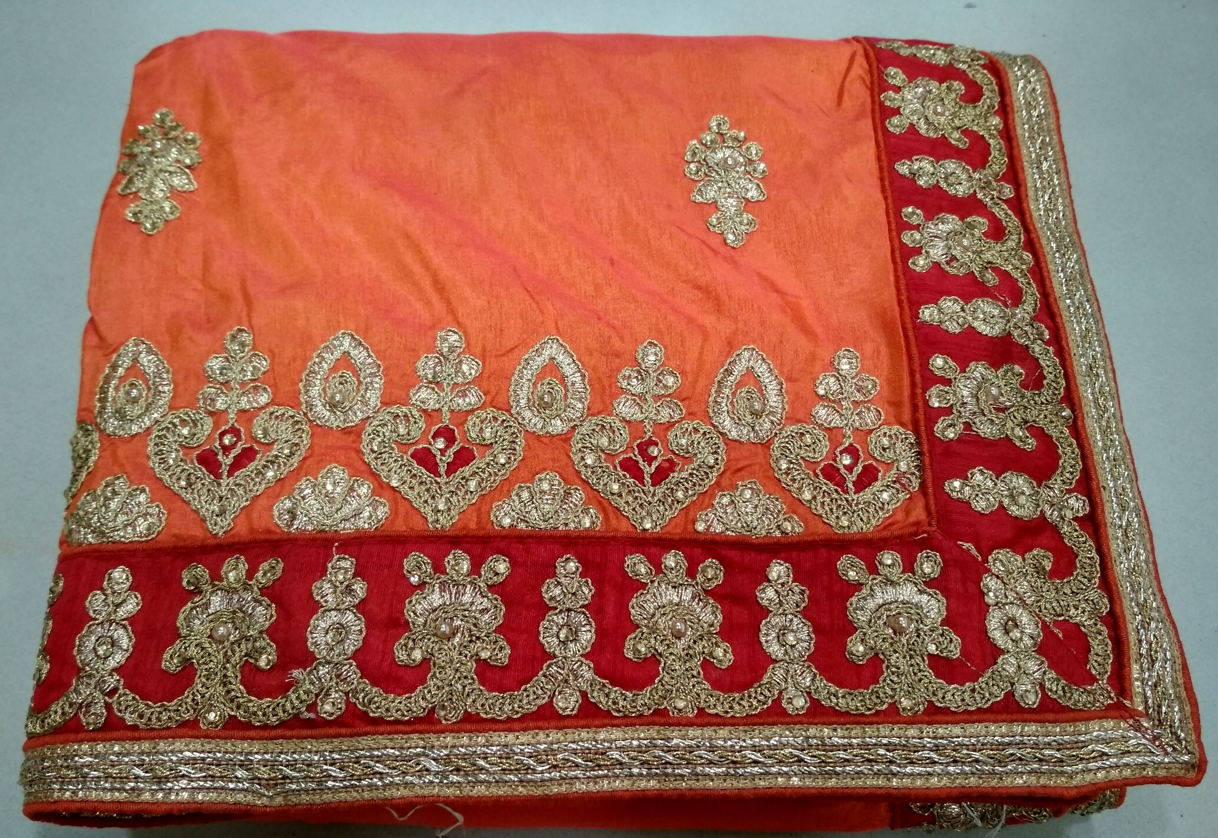 Attractive Heavy Embroidered Border Work Saree