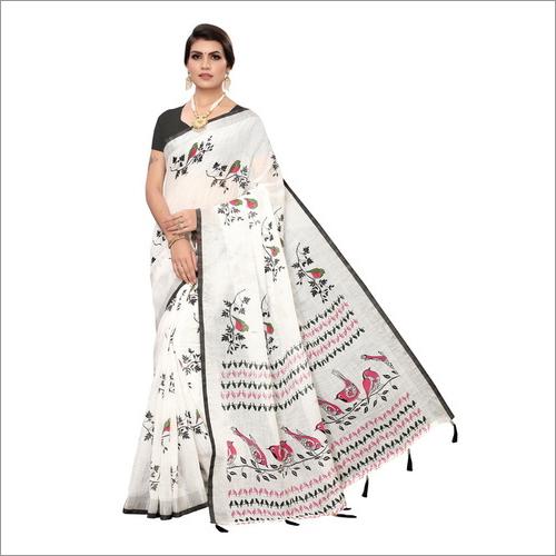 Linen Saree With Bird Prient