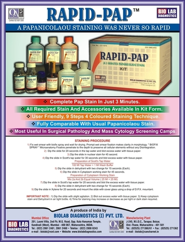 RAPID PAP STAIN KIT for CANCER DETECTION - RESULT in ONLY 03 MINUTES