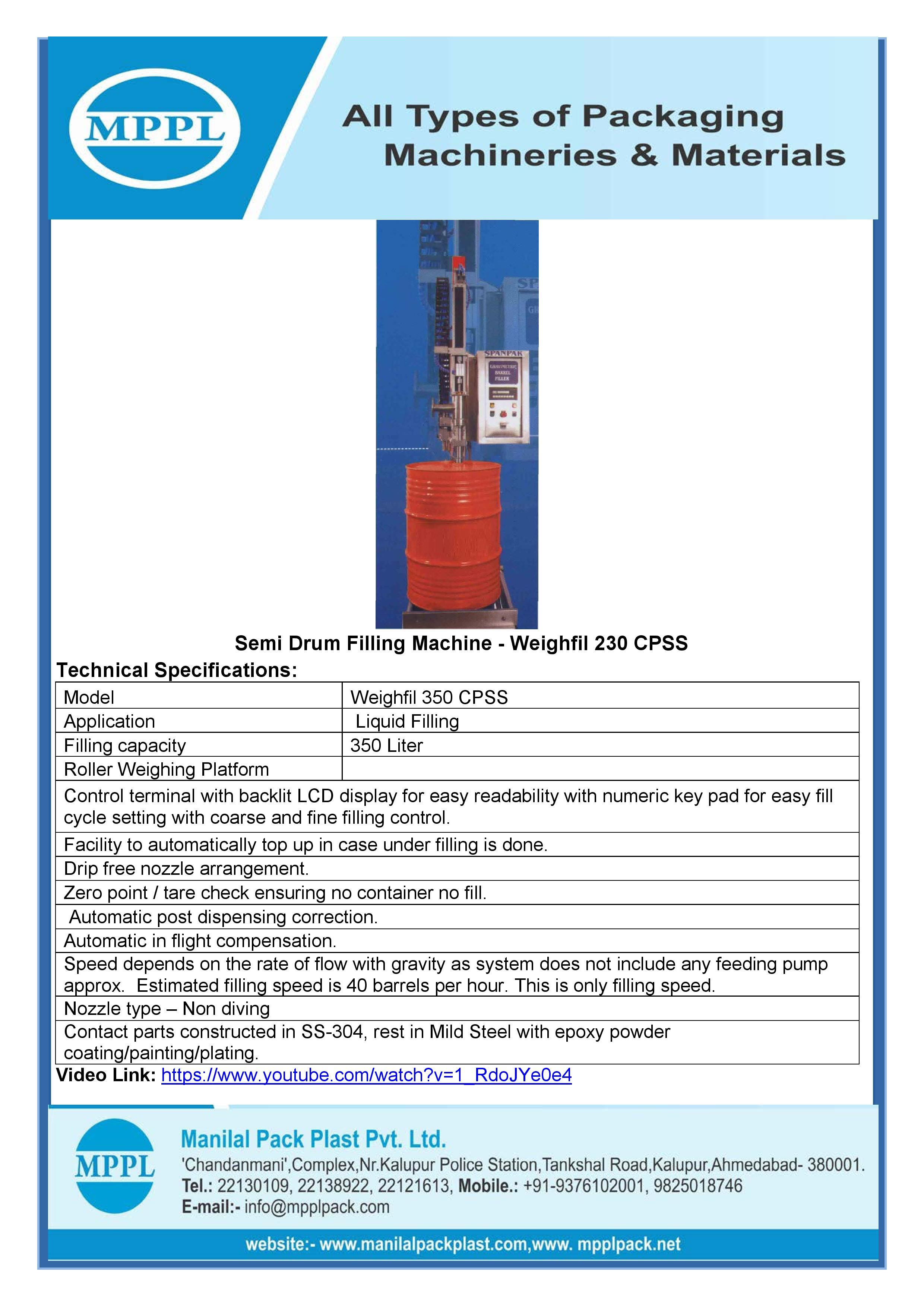 Semi Drum Filling Machine - Weighfil 230 CPSS