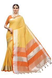 Linen Saree with Pirented Jhalar
