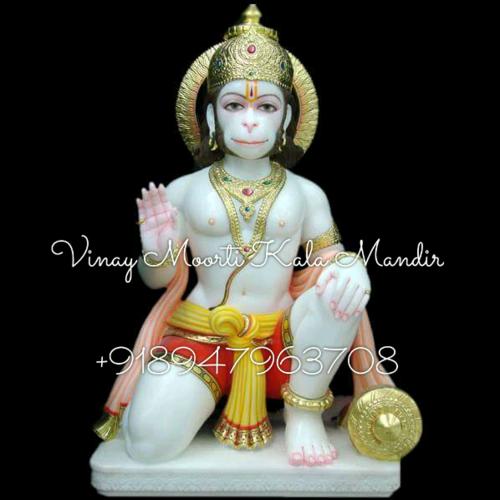 Marble Hanuman Seating Statue