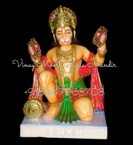 Multicolor Marble Hanuman Statue