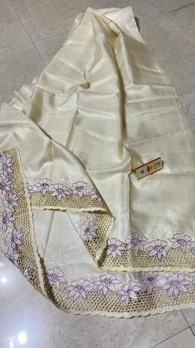 Pure Tussar Silk Cut Work Long Dupatta.