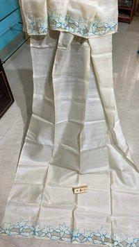 Pure Tussar Silk Cut Work Long Dupatta.