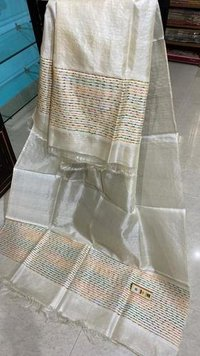 PURE TUSSAR SILKLONG DUPATTA WITH COLOURFULL WEAVING ON BOTH SIDE.