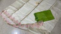 Pure Tussar Silk Cut Work Top 2.5 Mtrs.