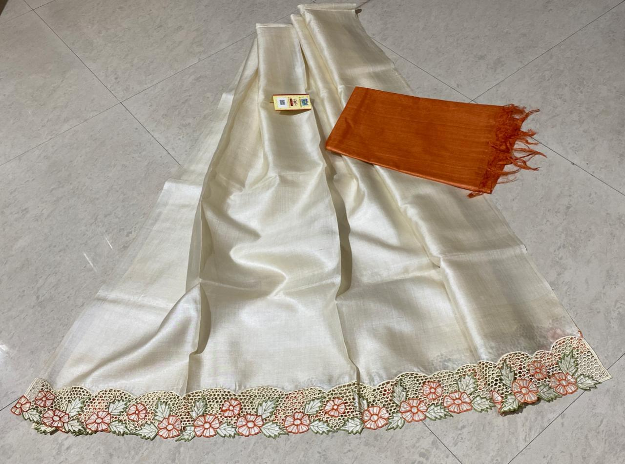 Pure Tussar Silk Cut Work Top 2.5 Mtrs.