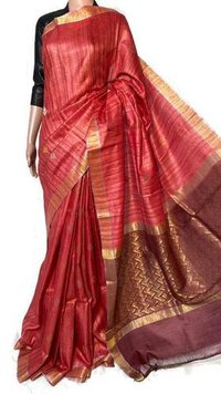 Pure Gheecha Tussar Silk Handloom All Over Boota Woven Jala Pallu Saree.