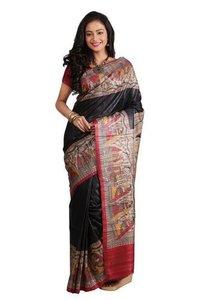 Tussar Gheecha Madhubani Printed Silk Saree.