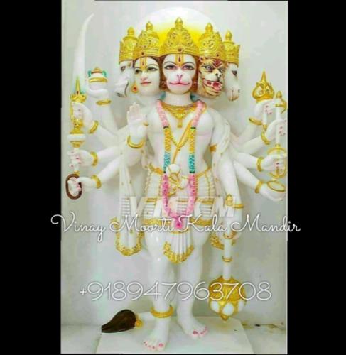 White Marble Panchmukhi Hanuman Murti
