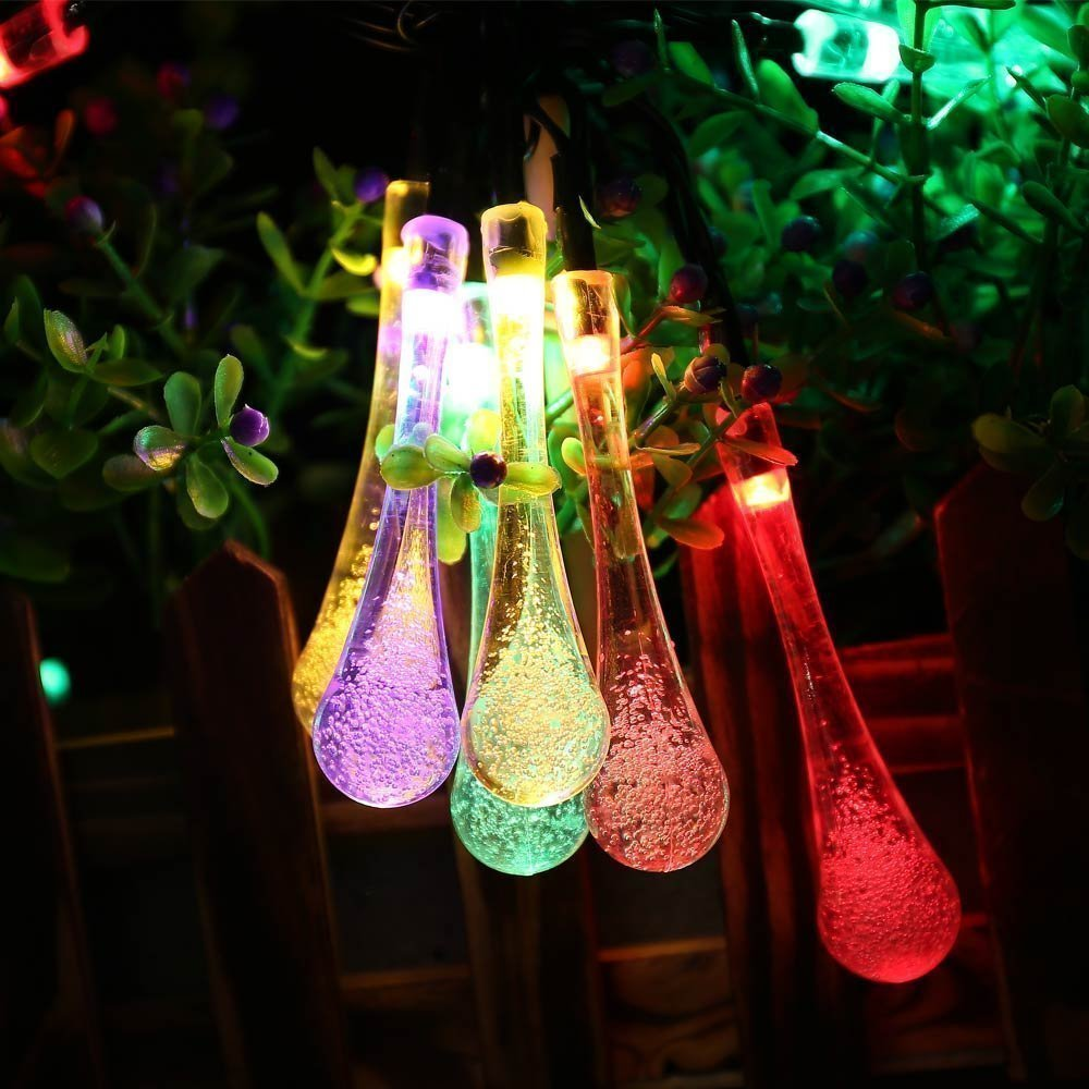 Solar Multicolor Waterdrop String Light