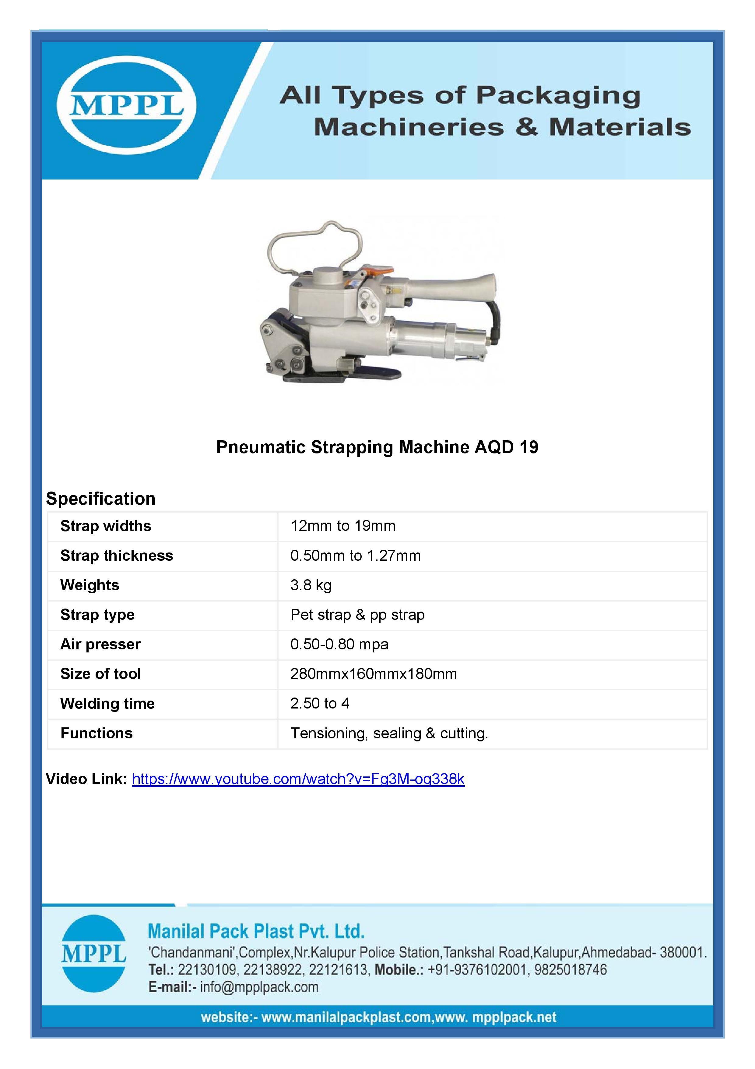 Pneumatic Strapping Machine Aqd 19
