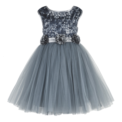 Kids Sequence Embellished Grey Party Wear Frock
