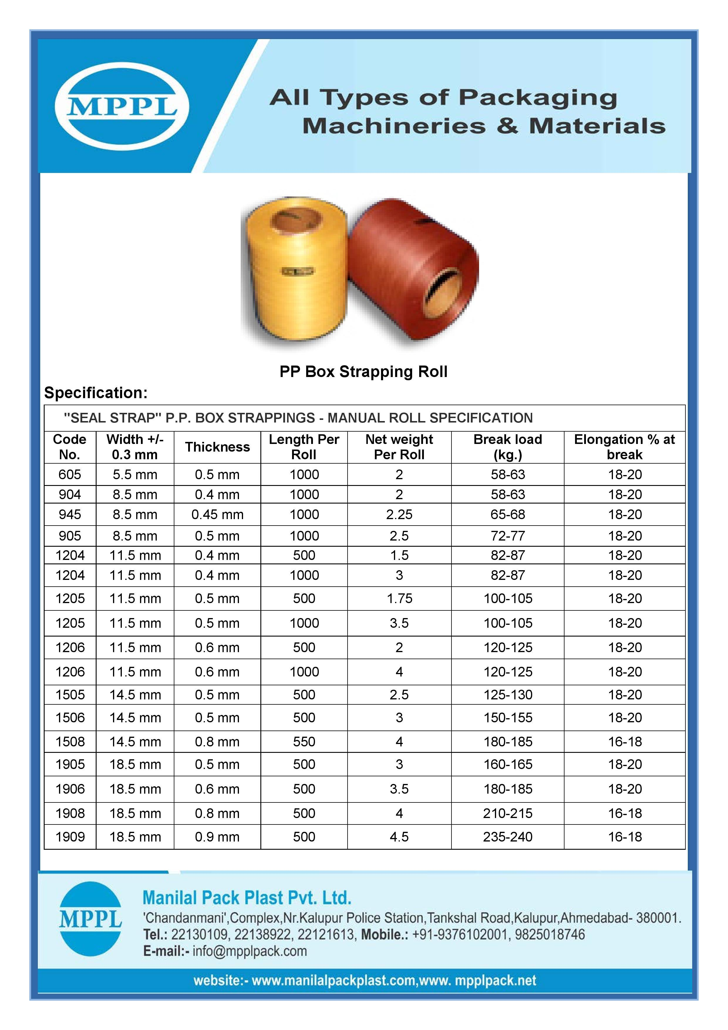 PP Box Strapping Manual Roll
