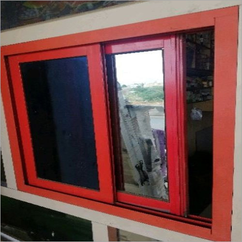 Red Aluminium Sliding Window