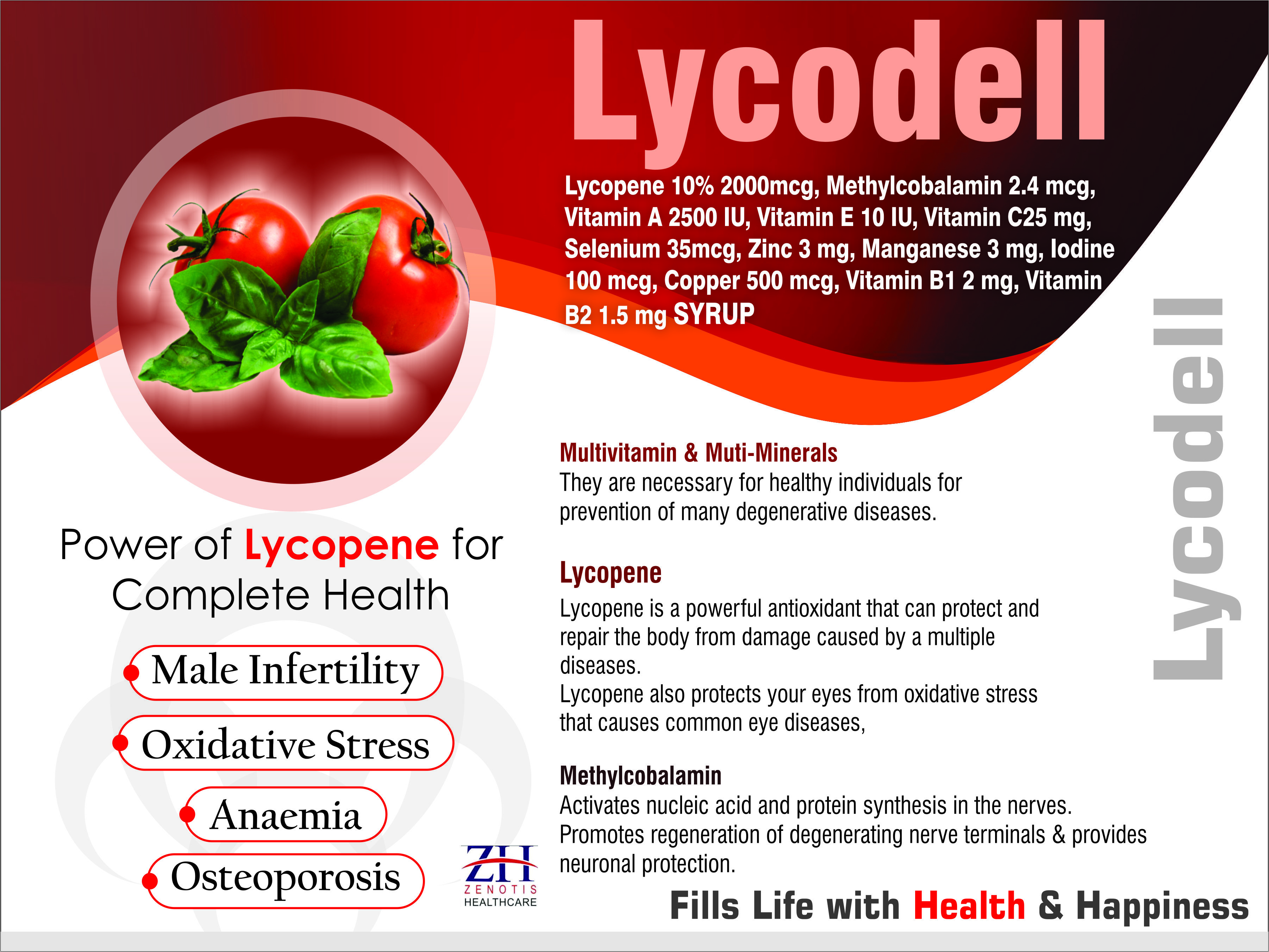 Lycopene Methylcobalamin Multivitamin Multimineral and Antioxidant Syrup
