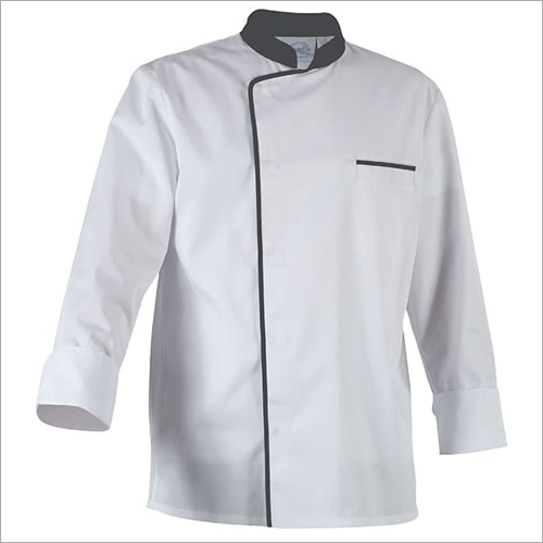 Hotel Restaurant Chef Coat White With Black Pipene
