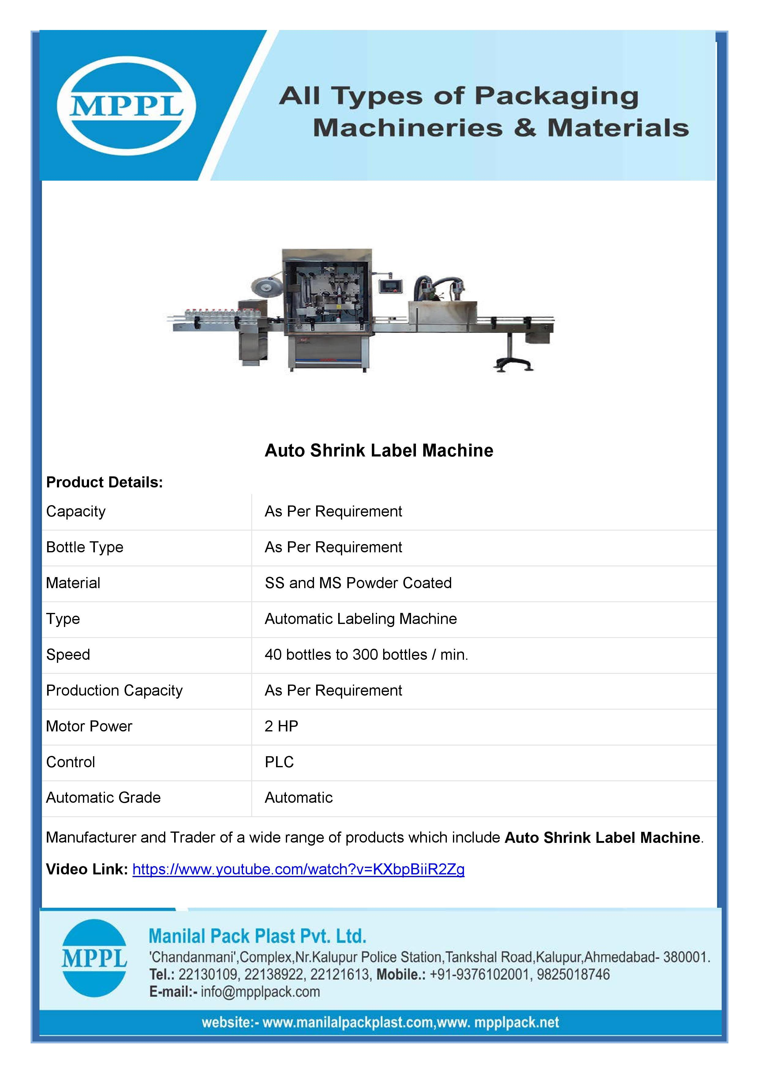 Auto Shrink Label Machine