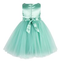 Kids Embroidered Sea Green party wear frock