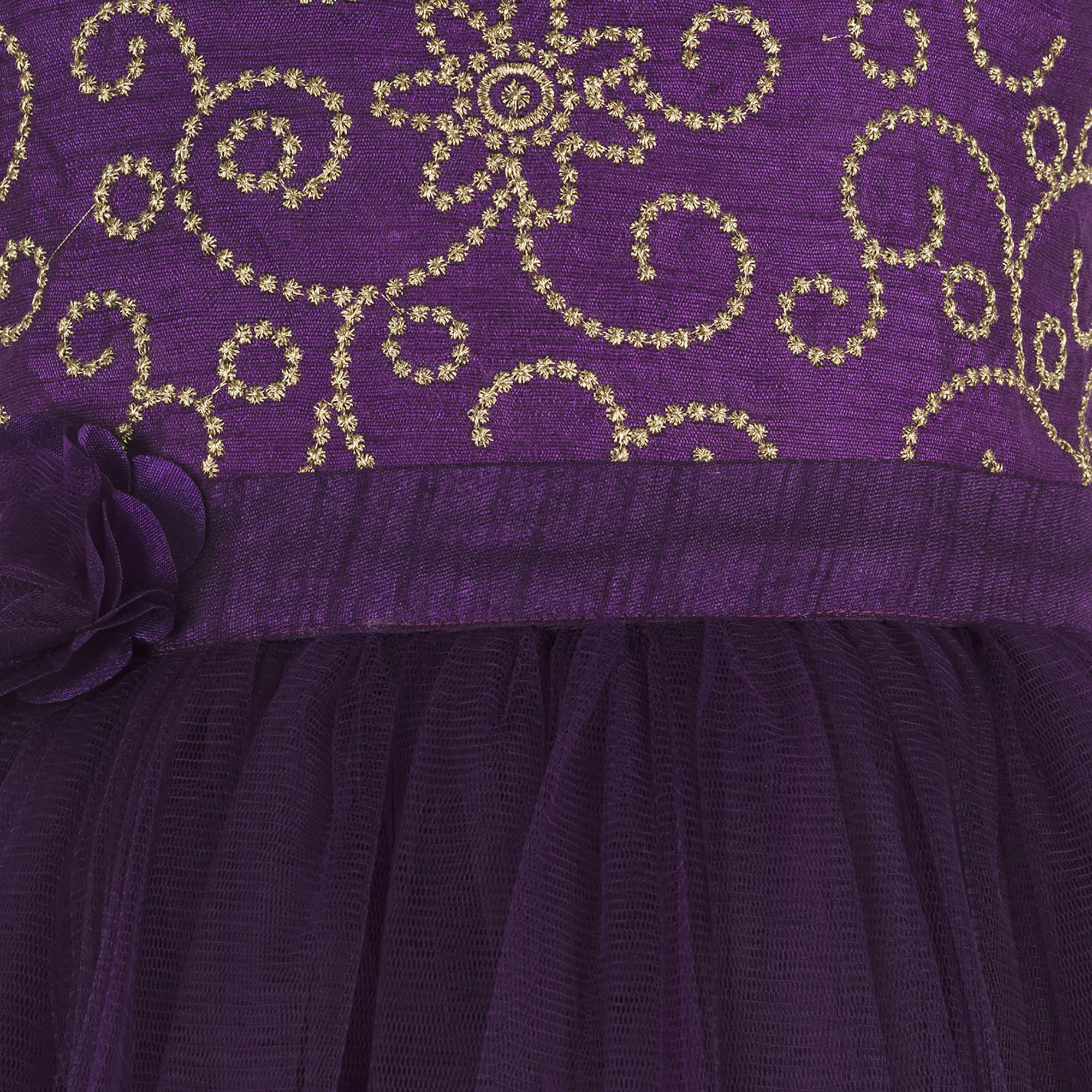 Kids Embroidered Purple Party Wear Gown