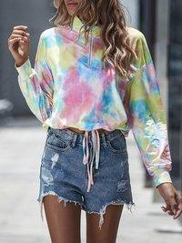 Women Sweatshirts Tye Dye Long Sleeve Standard Collar Zipper Hoodies Female Top Drawstring Pullovers Streetwear Trendy Chic 2020