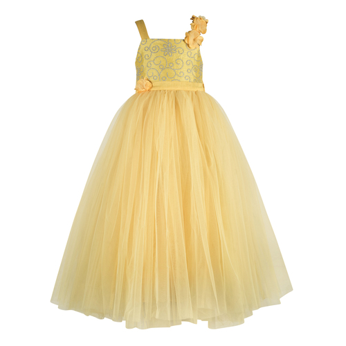 Kid Embroidered Yellow Party Wear Gown