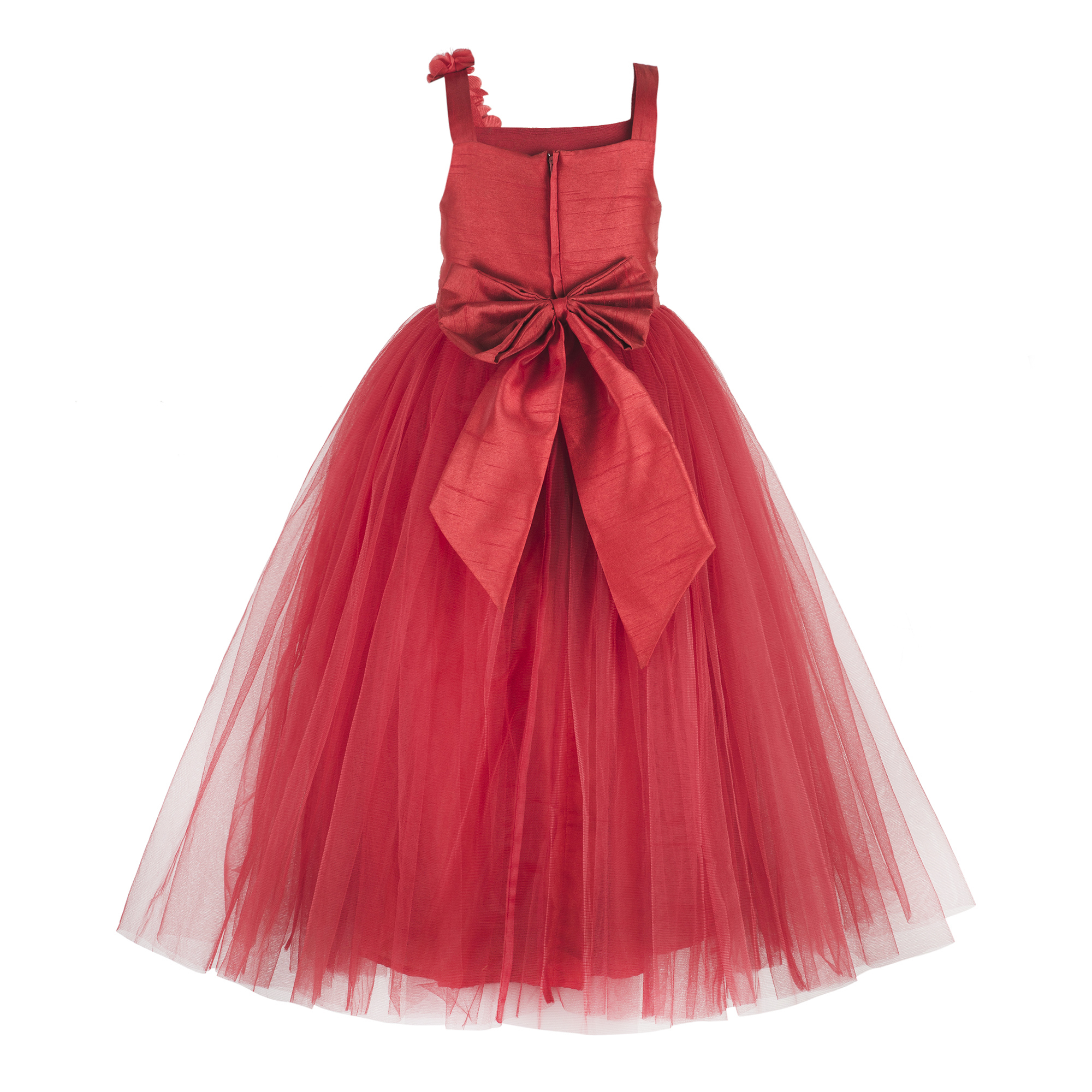 Kids Embroidered Red Party Wear Gown