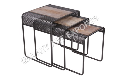 Iron wooden Nesting Tables Set of 3