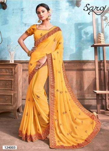 Beautiful Yellow Chiffon Saree